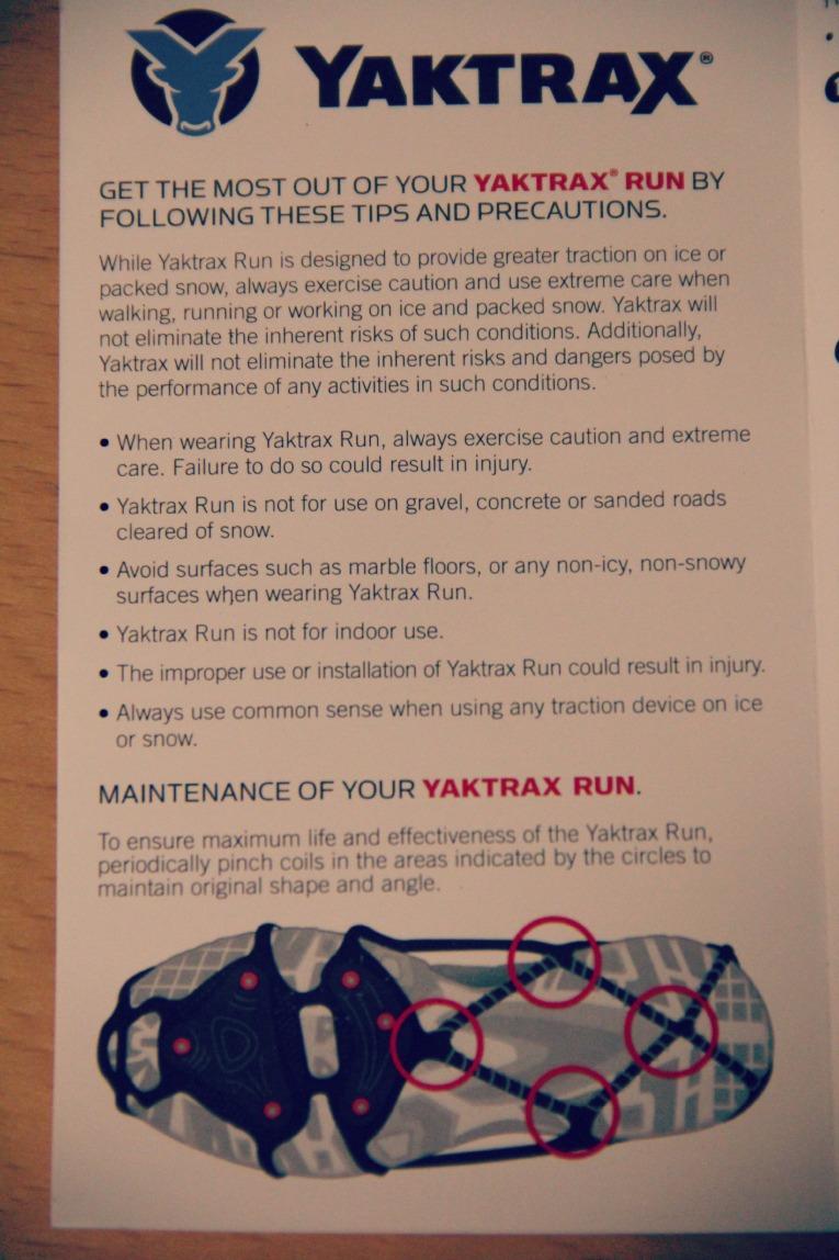 YakTrax Run information